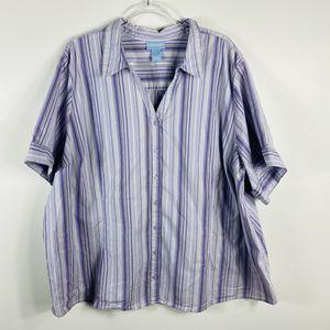 Liz & Me Purple Striped Button Top Short Sleeve